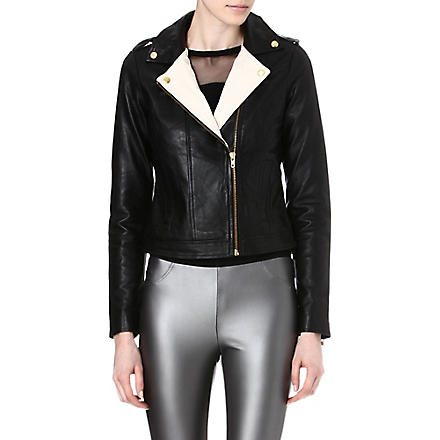 Y.A.S Asymmetric leather biker jacket (Black/white