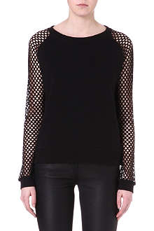 NOISY MAY Nero mesh and jersey sweatshirt