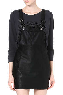 NOISY MAY Faux-leather pinafore