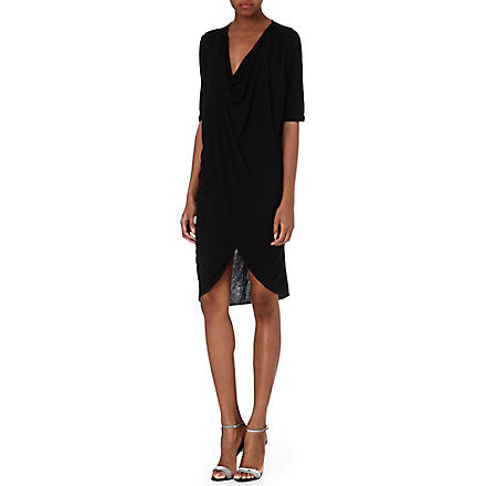 Y.A.S Twisted jersey dress (Black