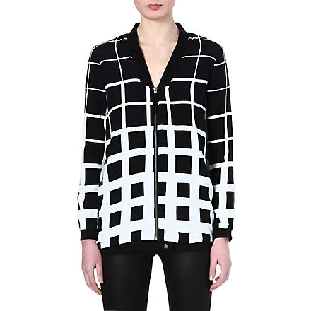 Y.A.S Grid long bomber jacket (Black/white