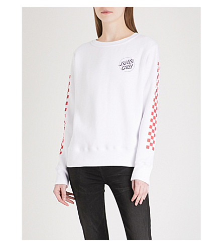 SANTA CRUZ Checker cotton-blend sweatshirt (White