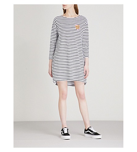 SANTA CRUZ Breton striped stretch-cotton mini dress (Black/white