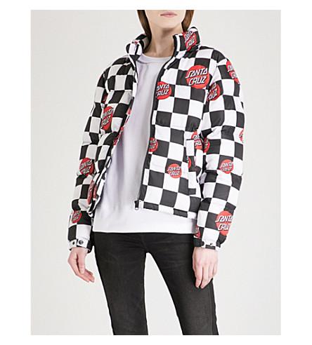 SANTA CRUZ Checker quilted shell jacket (Black/white