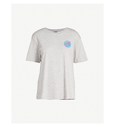 SANTA CRUZ Screaming Hand cotton-jersey T-shirt (Heather+grey