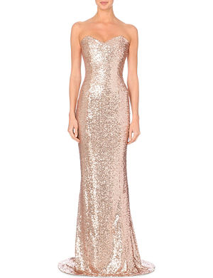 ONO UNO Strapless sequined floor-length dress