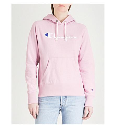 CHAMPION Logo-embroidered cotton-jersey hoody (Mau