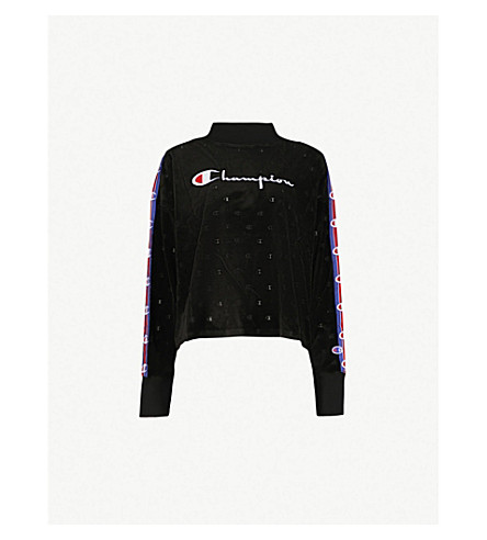 CHAMPION Logo-embroidered velvet jumper (Nbk/allover