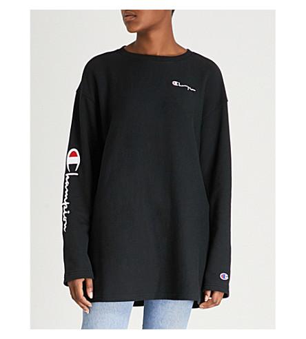CHAMPION Logo-embroidered cotton-jersey sweatshirt (Nbk