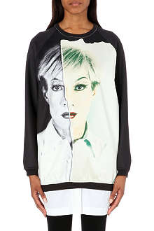 PORTS 1961 Warhol silk-satin and jersey sweatshirt