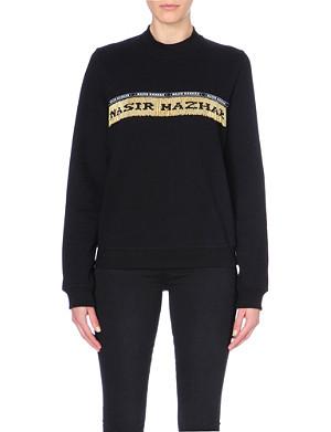 NASIR MAZHAR Metallic beaded logo front cotton sweatshirt