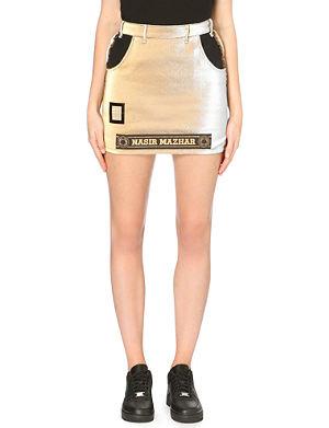 NASIR MAZHAR Metallic fitted logo mini skirt