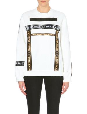 NASIR MAZHAR Tape branded logo cotton-jersey sweatshirt