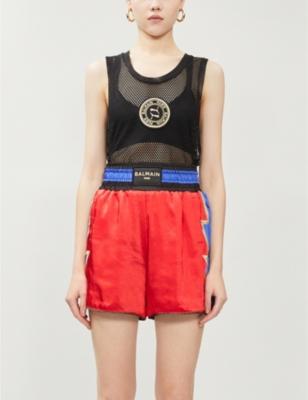 Puma x Balmain brand-patch wide satin boxing shorts