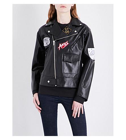 ARIES Patch appliqué leather biker jacket (Black