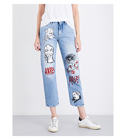 ARIES Hand-painted straight cropped mid-rise jeans (Blue
