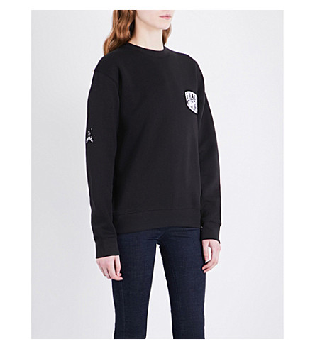 ARIES Patch appliqué cotton-jersey sweatshirt (Black