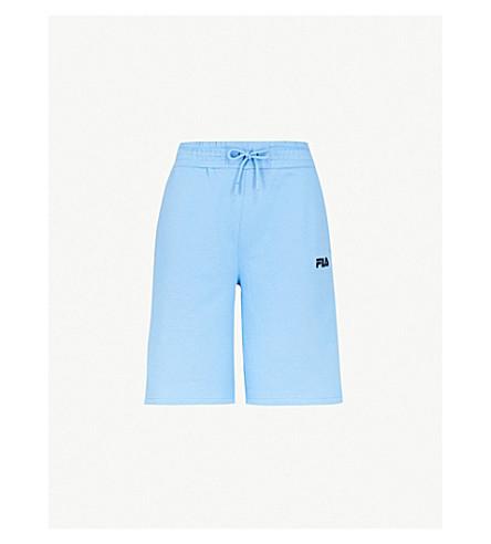 FILA刺绣标志平纹针织面料短裤 (湖 + 蓝色