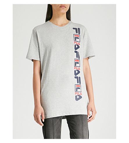 FILA Vertical logo-print cotton T-shirt (Lt+grey+marl