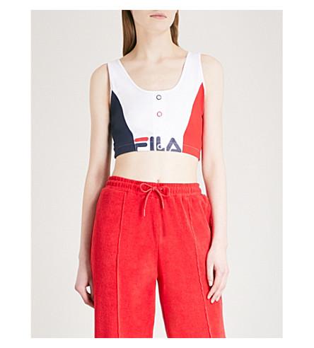 FILA Colour-block stretch-cotton cropped top (White