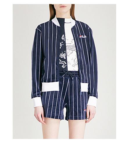 FILA Pinstriped velvet bomber jacket (Peacoat