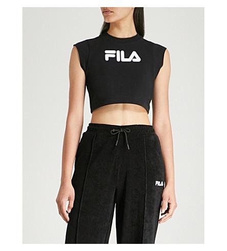 FILA Logo-print cotton-jersey cropped top (Black