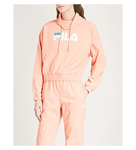 FILA Elsie funnel-neck shell track top (Peach+pink