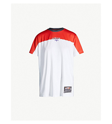 ADIDAS X ALEXANDER WANG Two-tone stretch-jersey T-shirt (Stbrick+/+cleargrey