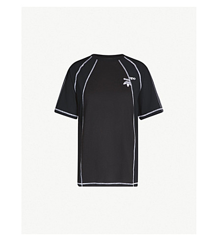 ADIDAS X ALEXANDER WANG Logo-embroidered cotton and satin T-shirt (Black white