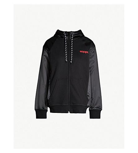 ADIDAS X ALEXANDER WANG Logo-print cotton and satin hoody (Black