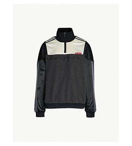 ADIDAS X ALEXANDER WANG Disjoin satin and fleece jacket (Blk/wht/red