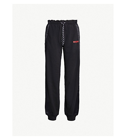 ADIDAS X ALEXANDER WANG Side-stripe cotton-jersey and satin jogging bottoms (Black