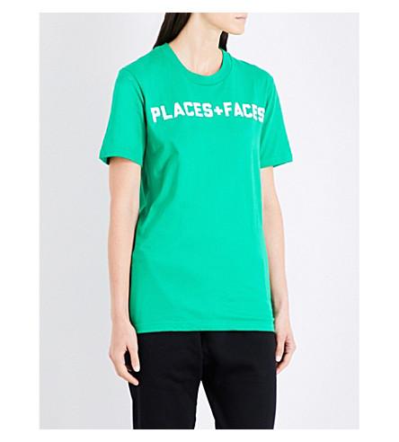 PLACES + FACES Logo-print cotton-jersey T-shirt (Lime+green