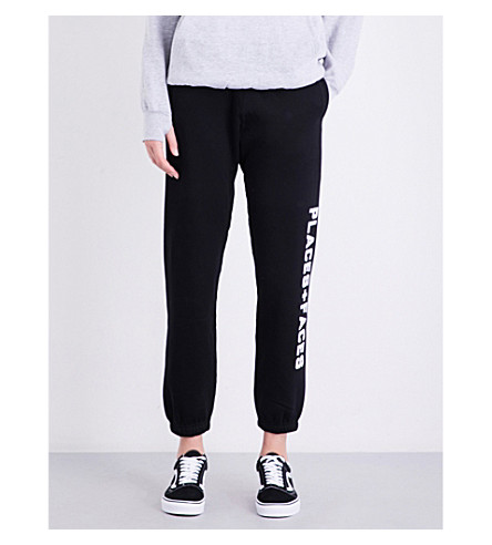 PLACES + FACES Logo-print high-rise cotton-fleece jogging bottoms (Black