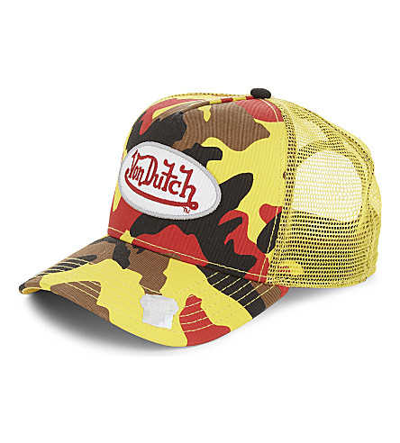 VON DUTCH Logo camouflage trucker cap (Red+camo