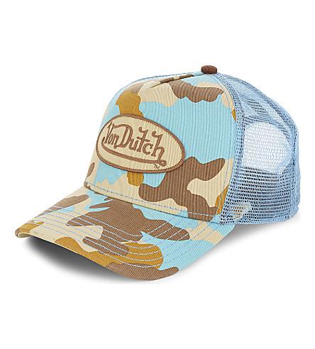 VON DUTCH Logo camouflage trucker cap (Blue+camo