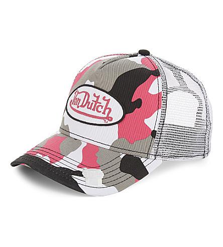 VON DUTCH Logo camouflage trucker cap (Pink+camo
