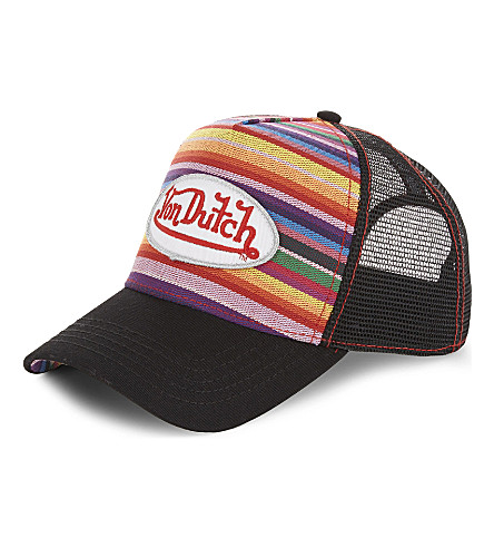 VON DUTCH Logo striped trucker cap (Rainbow