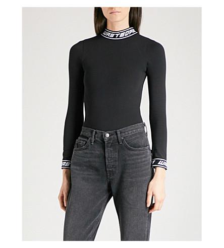 WASTED PARIS 品牌修剪弹力平纹针织体 (黑色