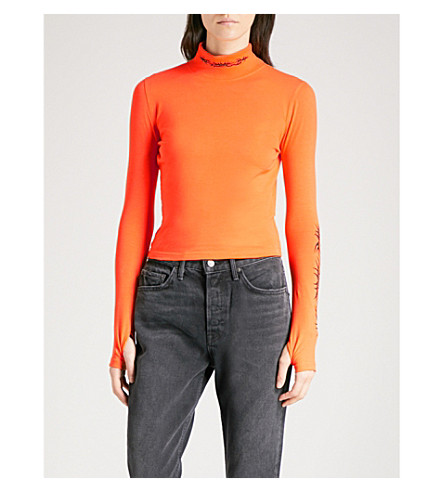 WASTED PARIS Funnel-neck stretch-jersey top (Orange