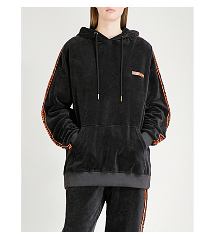 WASTED PARIS Oversized velvet hoody (Black