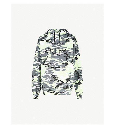 WASTED PARIS Camo logo-print cotton-jersey hoody (Grey/neon+yellow