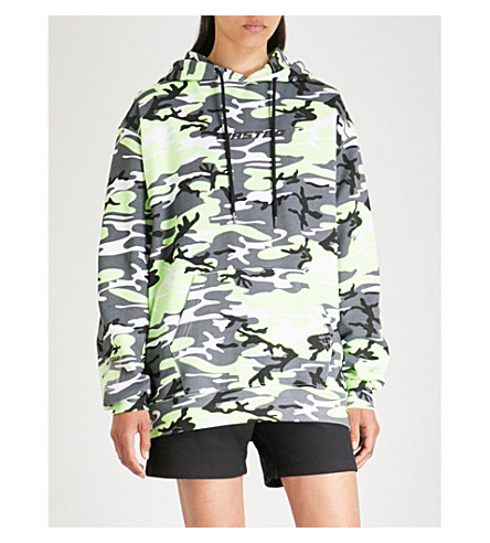 WASTED PARIS Camo logo-print cotton-jersey hoody (Grey/neon+yellow