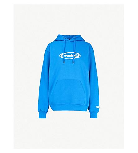 WASTED PARIS Ring logo-print cotton-jersey hoody (Blue
