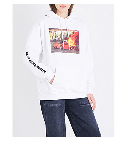 WASTED PARIS White Fire cotton-jersey hoody (White