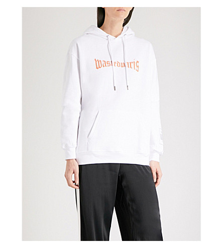 WASTED PARIS London logo-print cotton-jersey hoody (White