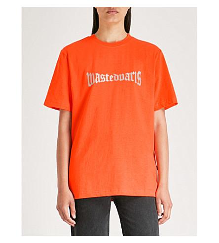 WASTED cotton Logo print PARIS Orange jersey WASTED PARIS T shirt q4Xw5gt