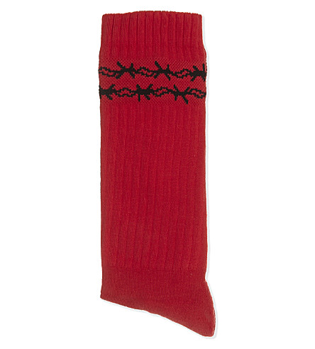 WASTED PARIS Dolce Vita barbed wire socks (Red