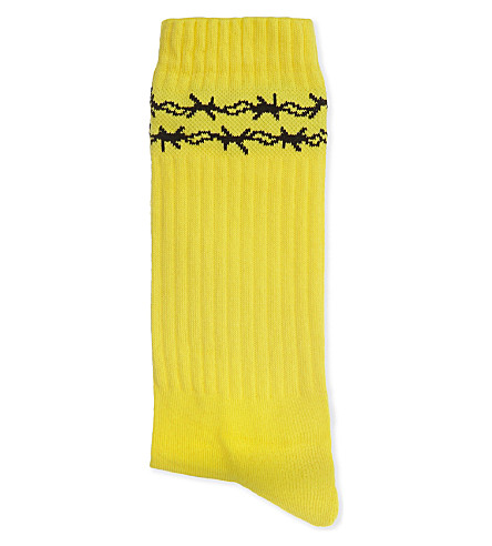 WASTED PARIS Dolce Vita barbed wire socks (Yellow