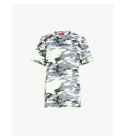 WASTED PARIS 伪装打印平纹针织棉 T 恤 (灰色/霓虹灯 + 黄色